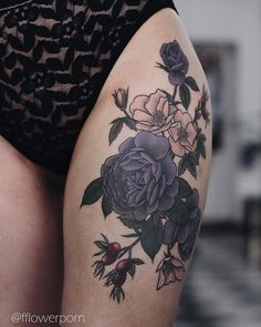 "5,359 Likes, 123 Comments - Olga Nekrasova (@fflowerporn) on Instagram: ""Garden and wild roses, two sessions in a row thanks, Anna! #tattoo #tattoos #tattooed…"""