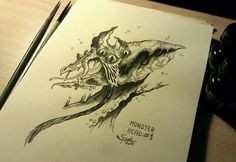 Inktober #1 - Warm Up Monster