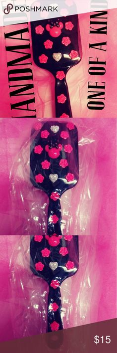 Hot Pink & Black Minnie Mouse Hairbrush Brand new!  Handmade one of a kind!!  Very durable for every day use.  Super fun! Great gift for friends of all ages!! Accessories Hair Accessories