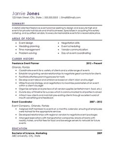 Use this event coordinator resume as a reference for creating your own resume to find a job in hospitality, event planning, management or wedding planning.