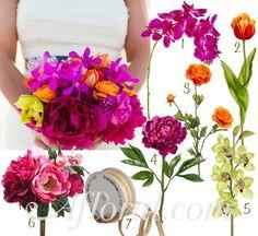 Fuchsia & Orange Tropical Wedding Flowers with Fuchsia Orchid & Peonies, Orange Tulips & Ranunculus, and Lime Green Orchids tied with a Natural Jute Ribbon ~ Denise's Inspiration Board  #tropicalwedding #beachwedding #destinationwedding #brightwedding #beach #wedding #tropical #bouquet