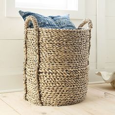 Large Woven Seagrass Basket, Wisteria, $79
