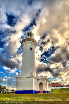 Norah Head Lighthouse, New South Wales, Australia. Completed in the Norah Head Lighthouse was the last significant lighthouse built in New South Wales. Famous Lighthouses, Lighthouse Pictures, Beacon Of Light, Belle Photo, Beautiful Places, Beautiful Sky, Simply Beautiful, Scenery, Around The Worlds