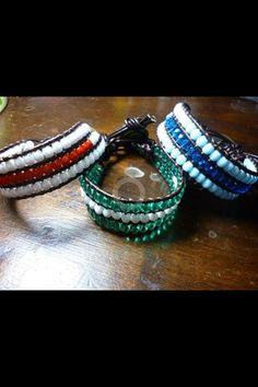 bracelets with crystals and skin by dodimatto on Etsy