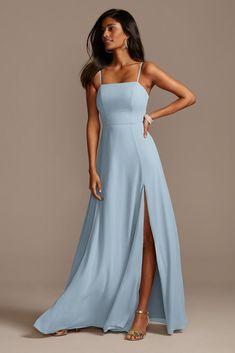 Pale Blue Bridesmaid Dresses, Blue Wedding Guest Dresses, Pretty Prom Dresses, Bridesmaid Dress Styles, Blue Bridesmaids, Davids Bridal Bridesmaid Dresses, Formal Dresses, Strapless Dress Formal, Baby Blue Weddings