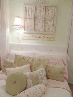 sweet shabby chic bedroom. antique window with fabric