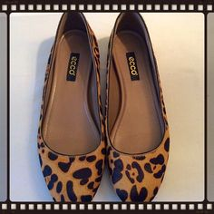 Ecco Pony Hair Animal Hair Flats Ecco pony hair animal print flat.  Excellent condition.  Says size 38 but fits like a 7.5 so am listing that way. Ecco Shoes Flats & Loafers