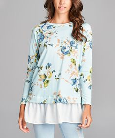 Sky Blue Floral Layered Tunic