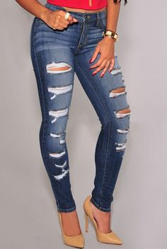 Skinny Jeans Blue Denim Destroyed Whisker Wash Specifications Size: (US 8-10)M, (US 12-14)L, (US 16-18)XL Color: As Shown Details Update your denim repertoire with these articulated super-skinny jeans