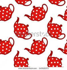 red tea pot pattern, abstract seamless texture, vector art illustration, image contains transparency - stock vector