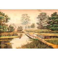 Bridge, $138.00, catalog of St Elisabeth Convent. Handmade. Available in the following sizes: 130×180, 150×210, 180×240, 210×300, 300×400 mm. #catalogofgooddeed #bridge #art #handmade #crushed #stone #landscape #paining #picture #plate #marble