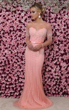 10 vestidos de festa com manga longa 2018 Jennifer Lopez, Formal Dresses, Wedding Dresses, Asian Woman, Bride Groom, Party Dress, Prom, Gowns, Boho
