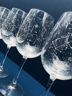 constellation wine glasses by ballousky | via Starry Night Weddings…