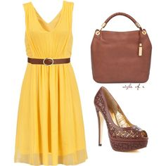 Not crazy about the shoes but I love the yellow dress and adore that bag) You are my sunshine...my only sunshine...lalala.