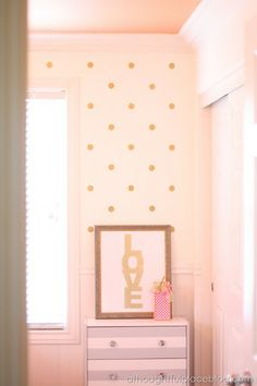 gold polka dot wall decals - so girly, probably too girly