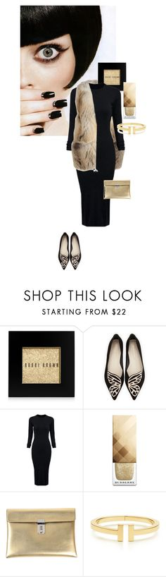 """Black & Gold"" by perlarara ❤ liked on Polyvore featuring Jimmy Choo, Bobbi Brown Cosmetics, Sophia Webster, WithChic, Burberry, Golden Goose and Tiffany & Co."