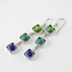 Blue Palette Drop Dangle Earrings  Colorful Kelly by productsof47