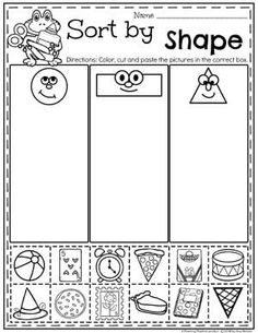 Kindergarten Math Worksheets - Sorting and Data worksheets books Measurement Worksheets - Planning Playtime Measurement Kindergarten, Measurement Worksheets, Kindergarten Math Worksheets, Kindergarten Classroom, Pre K Math Worksheets, Shape Activities Kindergarten, Shapes Worksheets, Shapes Worksheet Preschool, Worksheets For Preschoolers