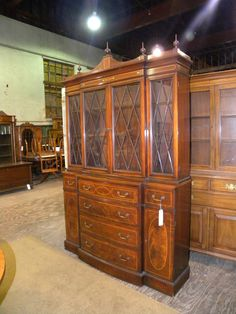 Vintage 2 Piece Mahogany Dining Room China Cabinet Hutch Colonial Mfg Co ColonialMfgCo