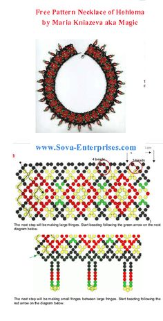 "FREE PATTERN - Necklace ""Hohloma"" at Sova-Enterprises.com"
