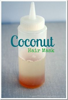 DIY Coconut Oil Hair Treatment   1/4 cup coconut oil, 1 tsp honey, plastic squeeze bottle, and shower cap. Warm up and leave on hair for 10-15 min, rinse & shampoo as usual. Easy!