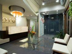 Dental Office Waiting Room. Reception desk/materials. Colors; clean presentation.