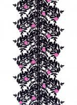 Marimekko Ruusupuu Black / White / Pink Fabric Black leaves are silhouetted against a white background on this classic Marimekko fabric. Pink roses accent the design, giving the otherwise symmetrical pattern a unique and unexpected quality. Textile Patterns, Textile Design, Fabric Design, Print Patterns, Modern Patterns, Pattern Designs, Japanese Patterns, Floral Patterns, Pink Fabric