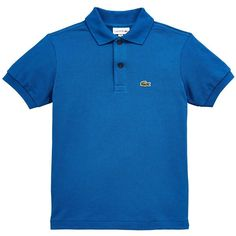 Lacoste Short Sleeve Classic Pique Polo ($54) ❤ liked on Polyvore featuring tops, blue top, polo tops, lacoste, short sleeve tops and blue short sleeve top
