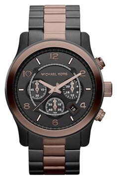 Michael Kors 'Large Runway' Two Tone Chronograph Watch