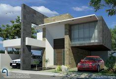 Fachadas Contemporáneas: Casa contemporánea con cantera a dos colores