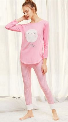 8a4c4def6105 Women s Cute Night Owl Pink Long Pajamas