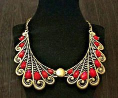 Gorgeous Egyptian Style Necklace With Red Stones F/S  Buy this here... https://yardsellr.com/for_sale#!/gorgeous-egyptian-style-necklace-with-red-stonesfs-5458027