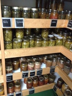 here's a fantastic idea for storing home canning. chalkboard labels on the shelves to keep food organised. (remember to label individual jars though.) You can tell at a glance where everything is stored without tipping jars to read what's on the lid. ;-)