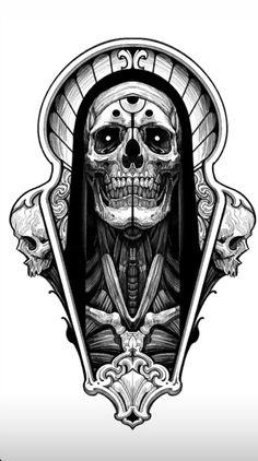 Japan Tattoo Design, Skull Tattoo Design, Tattoo Design Drawings, Tattoo Sketches, Scary Tattoos, Skull Tattoos, Body Art Tattoos, Dark Tattoos For Men, Tattoo Main