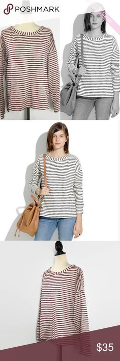Madewell Surfbreeze Stripe Sweatshirt L Like New  Madewell Surfbreeze Stripe Sweatshirt   With its supersoft textured stripes, slouchy drop-shoulder sleeves and easy, wide neckline, this is basically a hug in sweatshirt form. We love how it looks worn with rolled-up shorts or tied at the waist of a pretty dress.    Slightly oversized fit.  100% Cotton Madewell Tops Sweatshirts & Hoodies