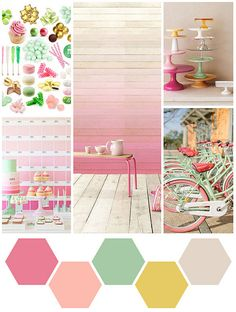 Saw these colors together recently and I have to say I'm lovein' it!!!~~~~ walls start dark pink fade into the yellow like the back wall but reverse. Furniture would be the minty green color.