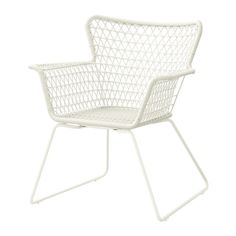 IKEA HÖGSTEN Chair with armrests, outdoor White Hand-woven plastic rattan looks like natural rattan but is more durable for outdoor use.