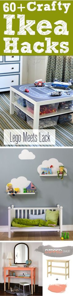 60++Crafty+Ikea+Hacks+To+Help+You+Save+Time+And+Money! Lego table/storage and the padded storage cubes for playroom are great ideas! #Ikeakidsroom