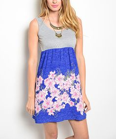 Royal Blue & White Floral Sleeveless Dress by Shop the Trends #zulily #zulilyfinds