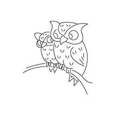 "Vintage Vogart ""Two Owls on a Branch"" Embroidery Pattern.  Available for free at Needlecrafter."