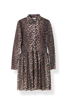 Peirce Mesh Dress, Leopard