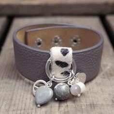 Leren armband grijs Fushi