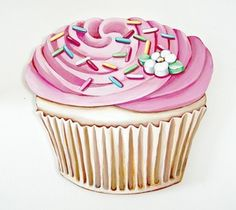 Everyday is a Holiday — JUMBO Pink Buttercream frosted Cupcake wood diecut