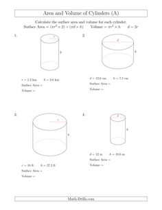 the calculating surface area and volume of cylinders a math worksheet - Volume Of A Cylinder Worksheet