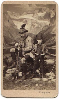 Kaiser Franz Josef and son Kronprinz Rudolf. Early 1860s.