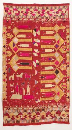 'Phulkari' with figurative design - Punjab, India - 20th century - embroidered cotton with silk threads