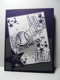 Baseball Hand Stamped Greeting Card perfect by PrettyOnPaperShop