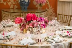Pink Peony Centerpiece at a Bridal Shower #nyc #bridalshower #therealrachelrey