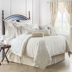 Shop for waterford linens paloma at Bed Bath & Beyond. Buy top selling products like Waterford® Linens Timber Round Tablecloth and Waterford® Linens Celeste Tablecloth. Shop now! Waterford Bedding, King Comforter Sets, Queen Comforter Sets, Shabby Chic Zimmer, Luxury Bedding Collections, Bed Styling, Home Living, Living Area, Houses