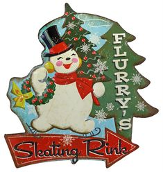 Flurry's Skating Rink Tin Sign